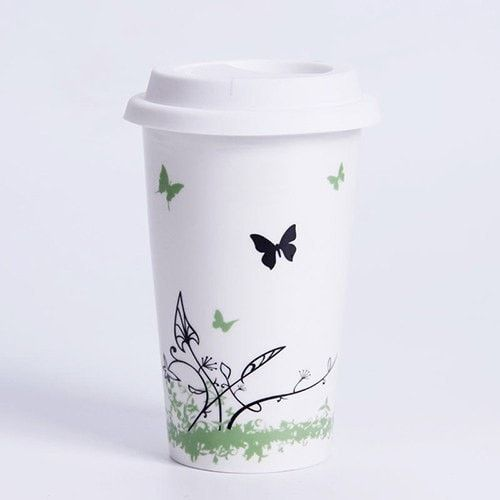 NEW 2016 Simple Elegance Travel Nature Inspired Dustprood Ceramic Cup w/Lid 6 Designs