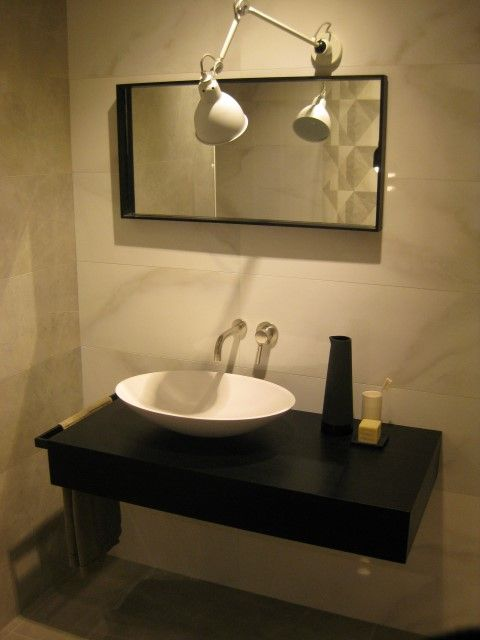 Sokos sit-on #washbasin designed by R&D #MastellaDesign @Marazzitile #Marazzi #showroom #Milan #designbasin #designbath #bathroom