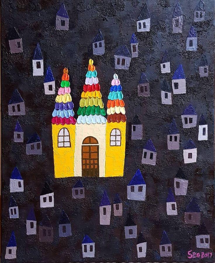 """좋아요 65개, 댓글 9개 - Instagram의 Youyeong.Seo(@blibla_art)님: """". 즐거운 나의 집🏩🌞. My Happy House 50.0×60.6cm Acrylic on canvas . . . #acrylicart #acrylicpainting…"""""""