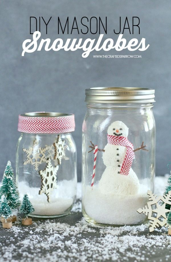 Create these cute, whimsical DIY Mason Jar Snowglobes - they are the perfect addition to any holiday decor. Michaels Holiday Pinterest Party