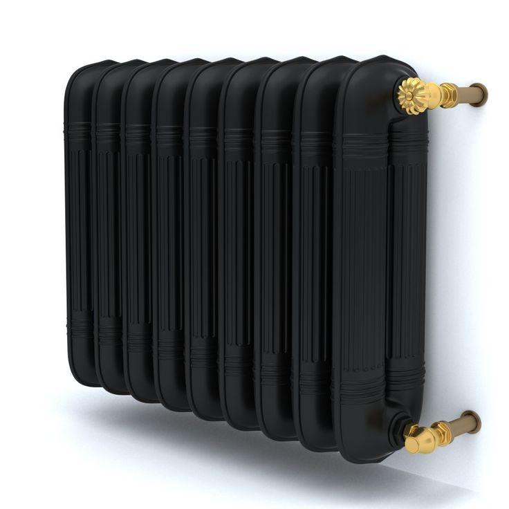 retro iron radiator Gustav / grzejnik retro żeliwny czarny ze złotymi zaworami http://radoxradiators.pl/grzejniki-pokojowe/gustav.html?