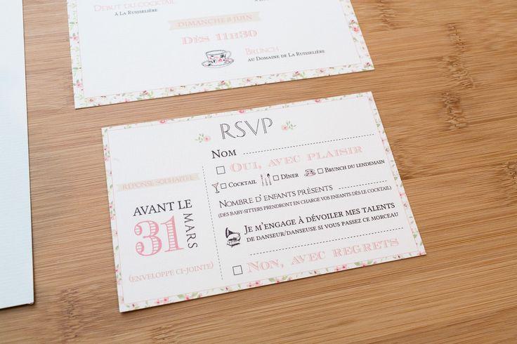 faire-part mariage vintage et liberty pour le carton réponse ou RSVP aux couleurs pastel