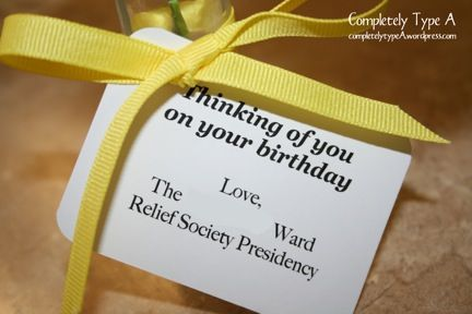 Relief Society visit gift ideas, all under a dollar.