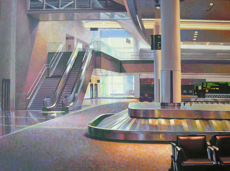 'YYZ Baggage', 2012, oil on canvas, by Terry Watkinson at Mayberry Fine Art