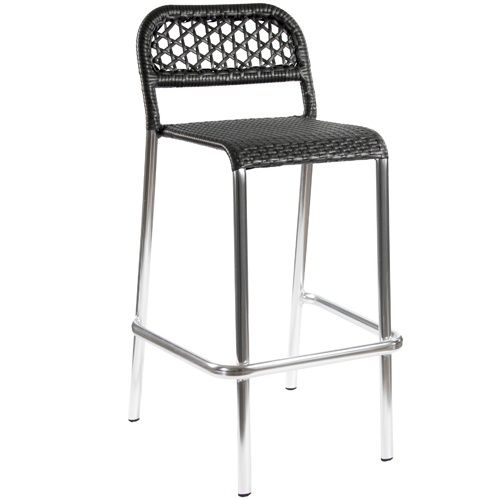 BFM Seating Hexsa Aluminum Outdoor Restaurant Bar Stool  These attractive BFM Seating outdoor restaurant bar stools are built with an anodized polished aluminum frame and golden black synthetic wicker back and seat. Stackable restaurant bar stool design allows for stacking up to 5 units high for convenient storage. These durable restaurant bar stools also feature a durable footrest and a sophisticated, modern look to meet your restaurant patio furniture needs.