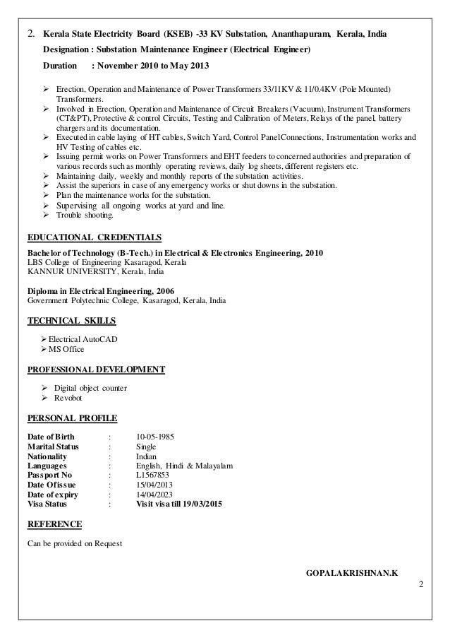 Electrical C License Resume Format In 2020 Sample Resume Format Resume Examples Resume Template