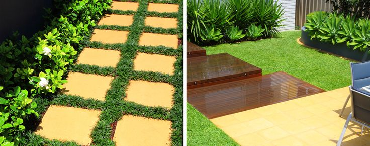 Steppers with Mondo Grass and Timber Decking