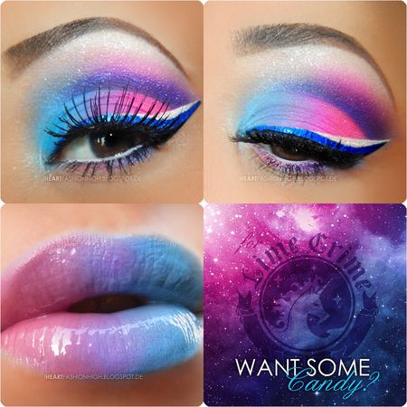 Pink, purple, and blue eye shadow and lipstick. Crazy, but potentially cute. Follow this account for similar, helpful and cute pins!