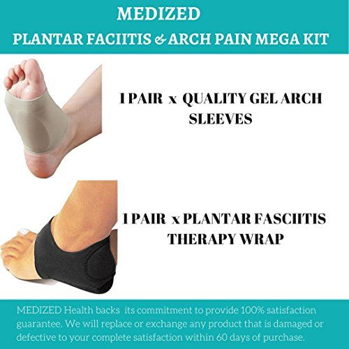 a3ee199802 MEDIZED Plantar Fasciitis Therapy Wrap Heel Foot Pain Arch Support Ankle  Brace Insole Orthotic … (Beige Arch Sleeve and Black Heel Wrap) ...