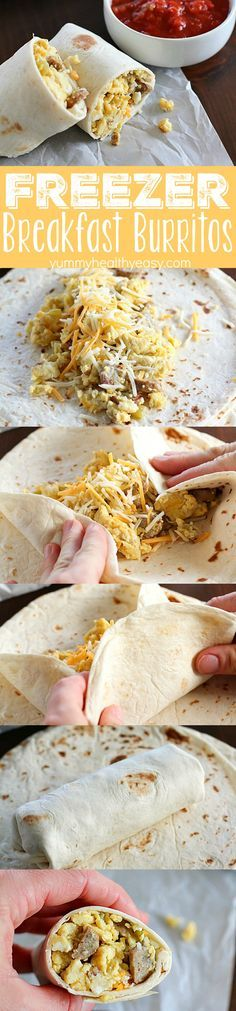Freezer Breakfast Burritos are the best breakfast for busy people! Fix up a batch (so easy!) and throw in the freezer.