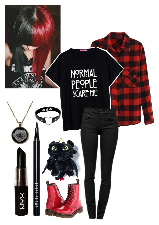 """""""Emo"""" by hey-im-macie ❤ liked on Polyvore featuring Proenza Schouler, Dr. Martens, Bobbi Brown Cosmetics and NYX"""