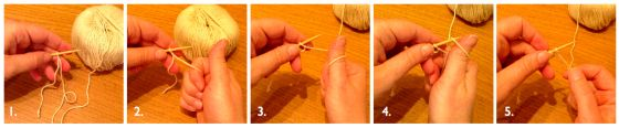 Knitting Tutorial: close up of thumb method cast on in 5 pictures