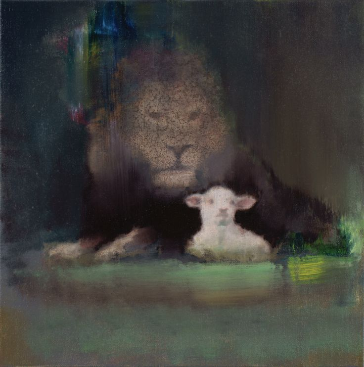 attila szucs, lion with sheep, oil on canvas mounted on board, 35x35cm. 2015