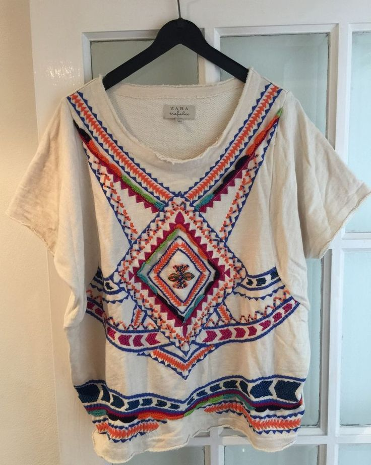 ZARA CREAM MULTICOLOURED EMBROIDERED/BEAD AZTEC SLOUCHY FIT TEE TOP-S-UK 10-12