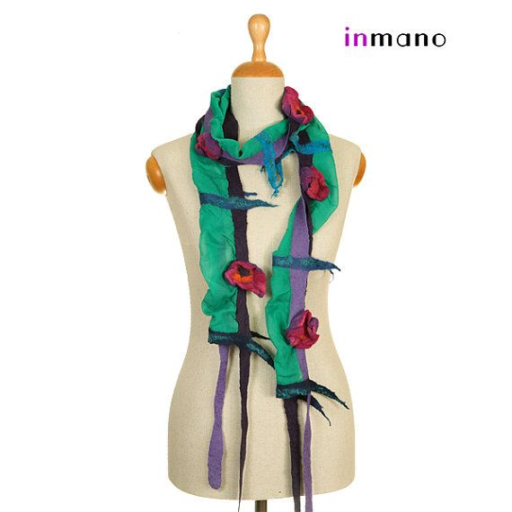 felt nuno felted necklace collar emerald  green and by inmano