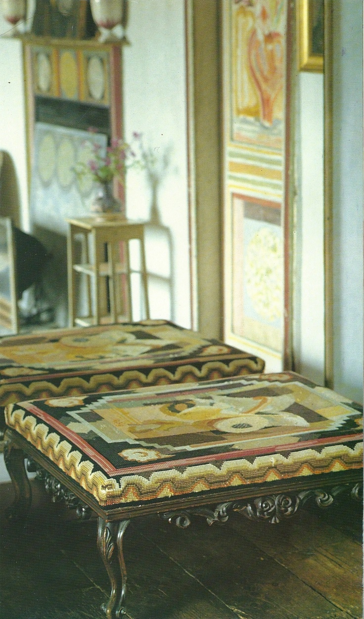 Stool in Duncan Grant's bedroom at Charleston, upholstered in cross-stitched canvas by Duncan's mother, Ethel Grant, to his design