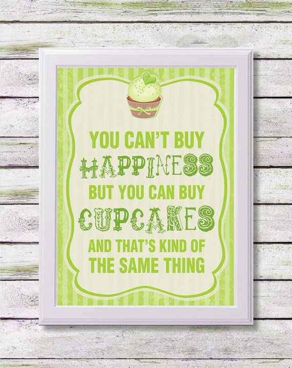 Printable Art, 8x10 Print, PRINTABLE QUOTE, You Can't Buy Happiness But You Can Buy Cupcakes, Inspirational Quote, Instant Download Art