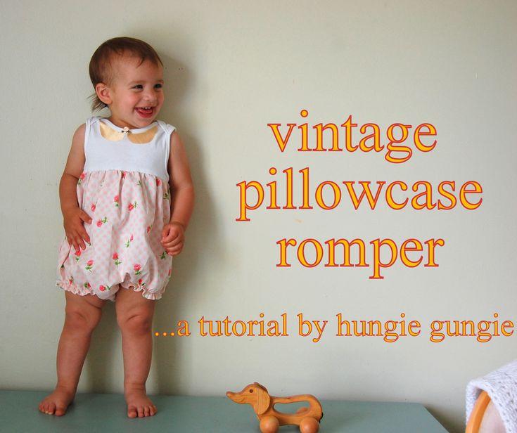 vintage pillowcase romper tutorial