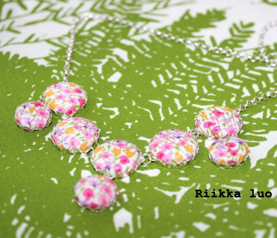 Liberty fabric covered button necklace with by RiikkaLuoDesigns