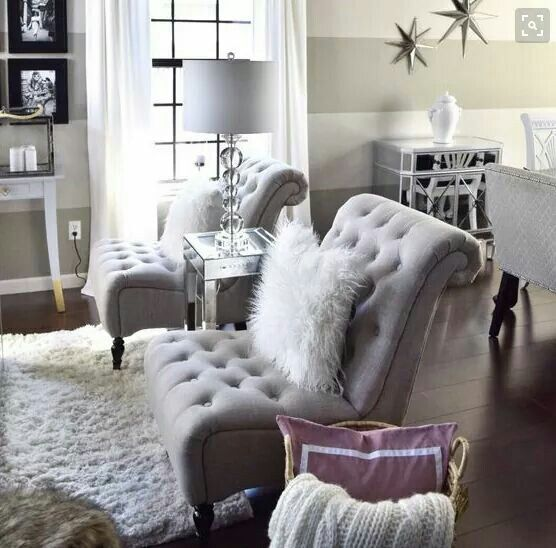 Glitz and glamour for this living room. The stars on the wall are a nice touch too! The tufted chairs are fabulous! - Luxury Beauty - http://amzn.to/2hZFa13
