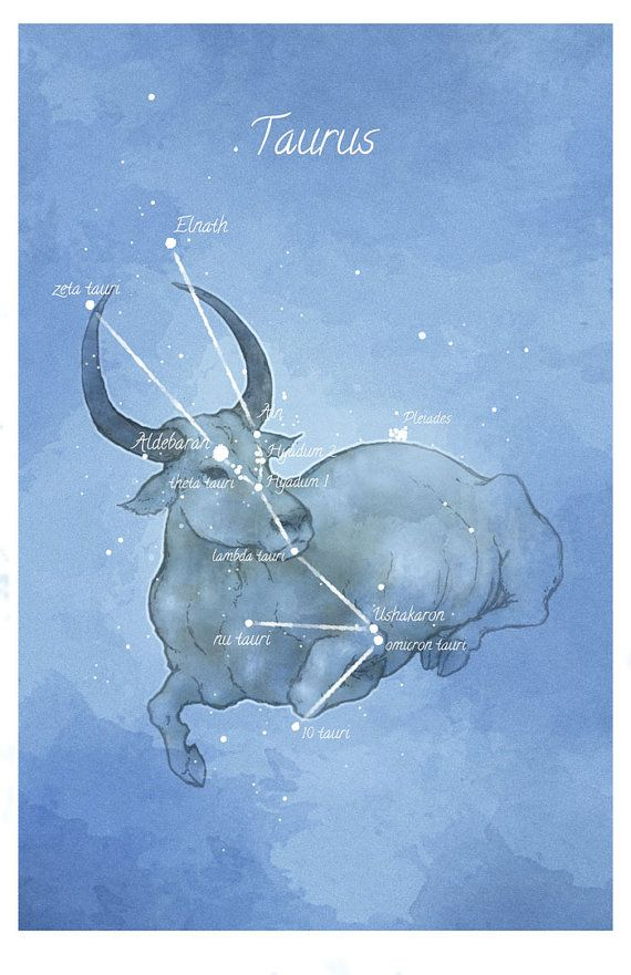 Astronomy art Taurus constellation by LaPetiteMascarade on Etsy, $28.00