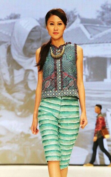 Stelan celana blus batik kombinasi