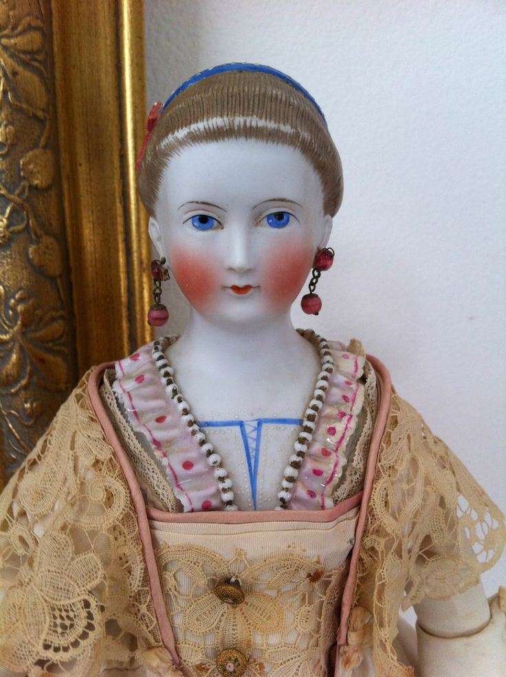 Antique Large China Type Parian Lady Doll Pierced Ears, Fancy Hair Do and Bodice.