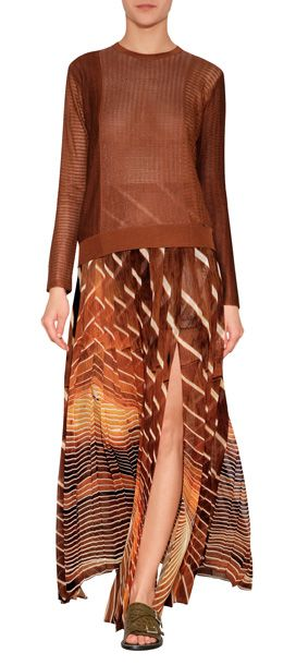 Rendered in a vivid, earthy-hued print, this floor-grazing skirt from Akris was inspired by the power of nature. Fusing technology and primal beauty for eye-catching results, this pleated maxi-skirt is a statement-making choice for spring #Stylebop