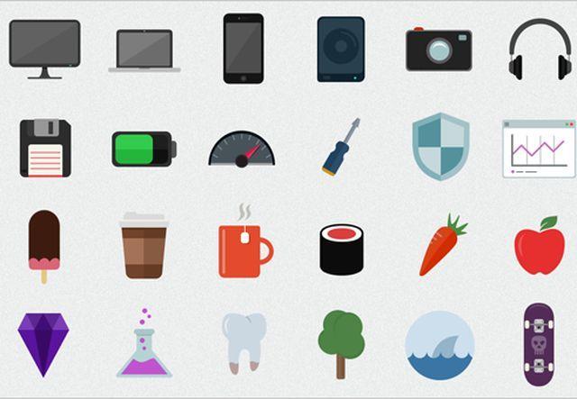 Flatilicious, un pack compuesto por 48 bellos iconos planos gratuitos en formato PSD