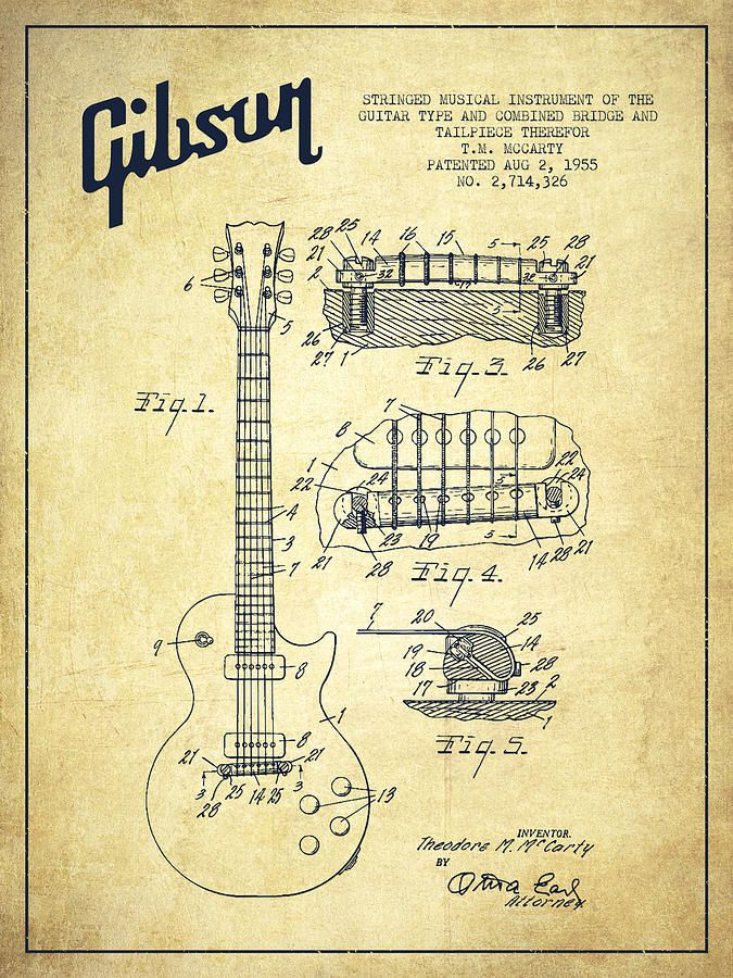Mccarty Gibson Les Paul Guitar Patent Drawing From 1955 - Vintage Drawing