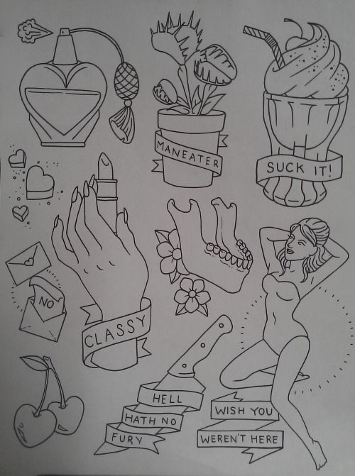 the-tattooed-lady:  Been working on this sassy little flash sheet today. Come get it tattooed!