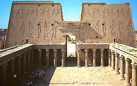 Temple of Edfu for the falcon god Horus, was built in the Ptolemaic period between 237 and 57 BCE, Egypt. Ancient city was Apollonopolis Magna
