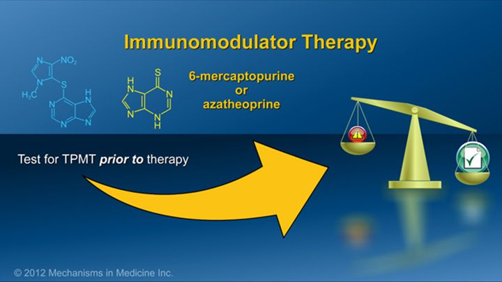 With azathioprine and 6-mercaptopurine, some of these risks are minimized by checking the activity of a genetically determined enzyme (TPMT) prior to starting therapy.  This assessment allows for dosing and discussions of benefits and risks that are individualized for the patient.slide show: preparing for ibd therapy. this slide show describes ways patients with inflammatory bowel disease ibd can prepare for their therapy and medications.