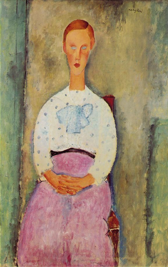 Girl with a polka-dot blouse, 1919  Amedeo Modigliani