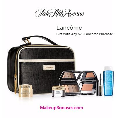 Lancôme 7-piece Free Bonus Gift with $75 Purchase & Promo Code LANCOMEY at Saks Fifth Avenue - details at MakeupBonuses.com #lancomeUSA #saks #free #beauty #makeup #skincare #GWP