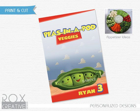 Toy Story Appetizer 4 x 6 (Food Labels) Design Digital by RoxCreativeDesign