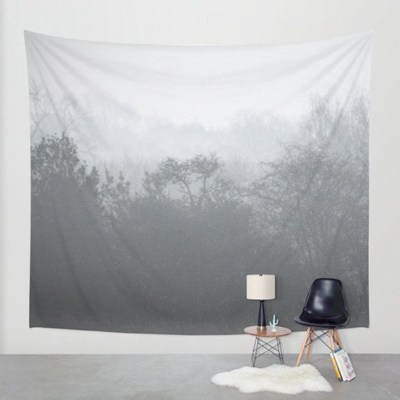 Tree tapestry grey tapestry tree art photo by SophieMakesFabrics
