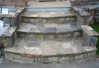 stone steps for the front door - we have the slate rocks, this is the design we will use