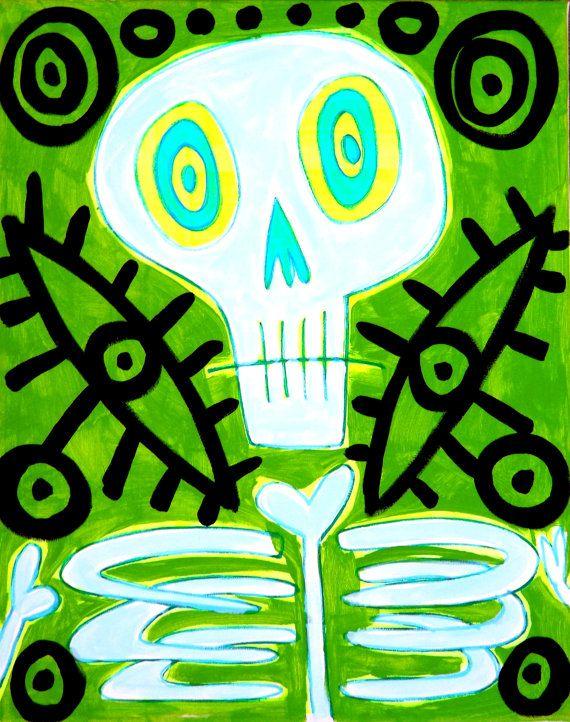 ORIGINAL  DAy of the Dead  outsider folk pop by STUCKYOUTSIDERART, $125.00