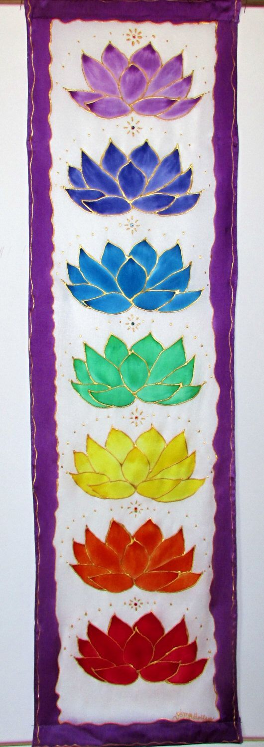 "#sapphiresoul Chakra wall hanging,' Crystal Lotus"",chakra art, metaphysical art, yoga art, reiki art. healing art, new age art, spiritual art by HeavenOnEarthSilks on Etsy https://www.etsy.com/listing/187987384/chakra-wall-hanging-crystal-lotuschakra"