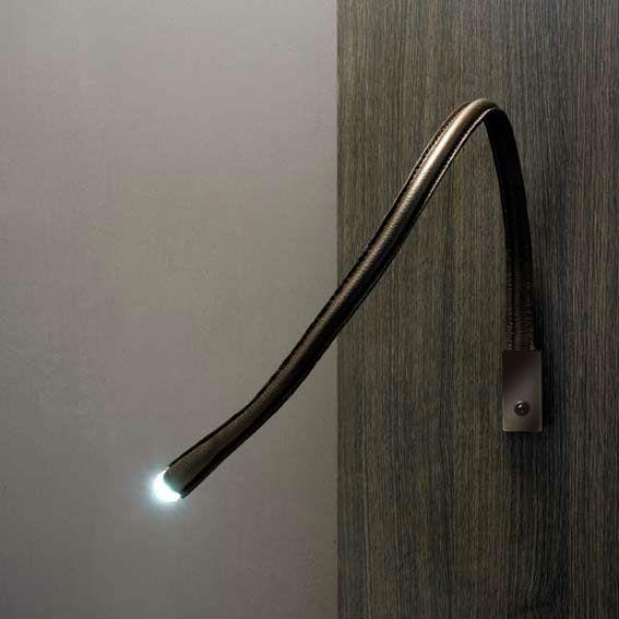 FLEXILED - Applique/liseuse flexible Cuir chocolat/Bronze avec interrupteur L60cm Contardi