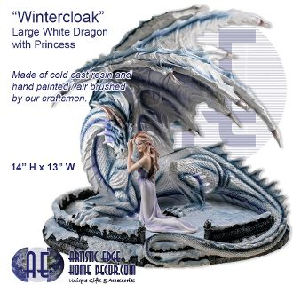 Wintercloak - Large White Dragon and Princess