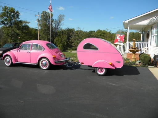 pink VW bug with matching camper- Ryan should definitely get these for me!!!