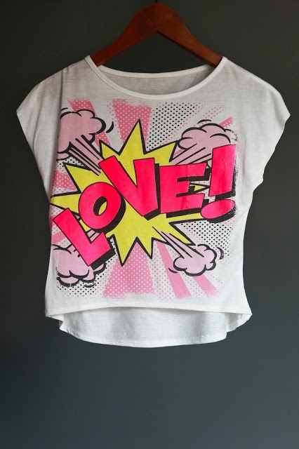 LOVE! and pink comic cartoon letters classic crop top.   Buy at http://agatascreations.blogspot.co.uk/