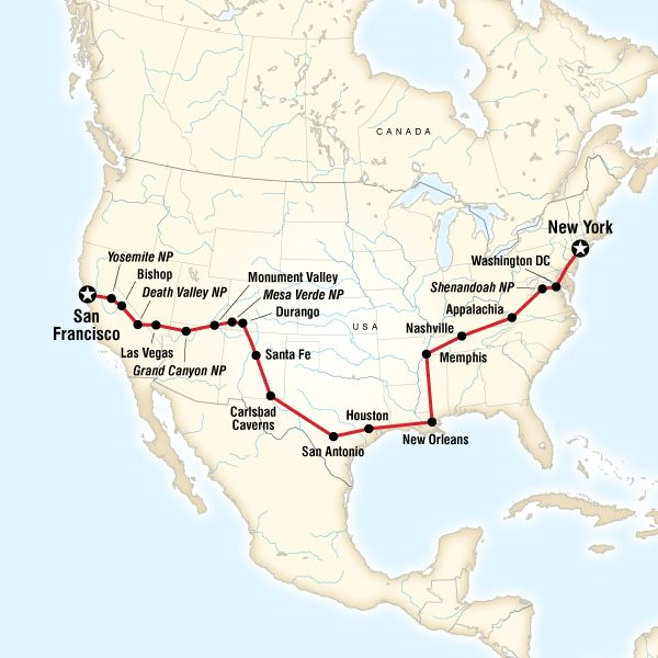 Coast to Coast Road Trip Eastbound - Lonely Planet - 23 days