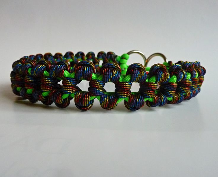 Aztec Sun Bar martingale paracord dog collar - DIY paracord dog collar with stainless steel welded rings