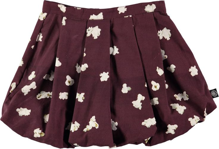 Beverly - Scattered Popcorn - bordeaux coloured balloon skirt with popcorn print