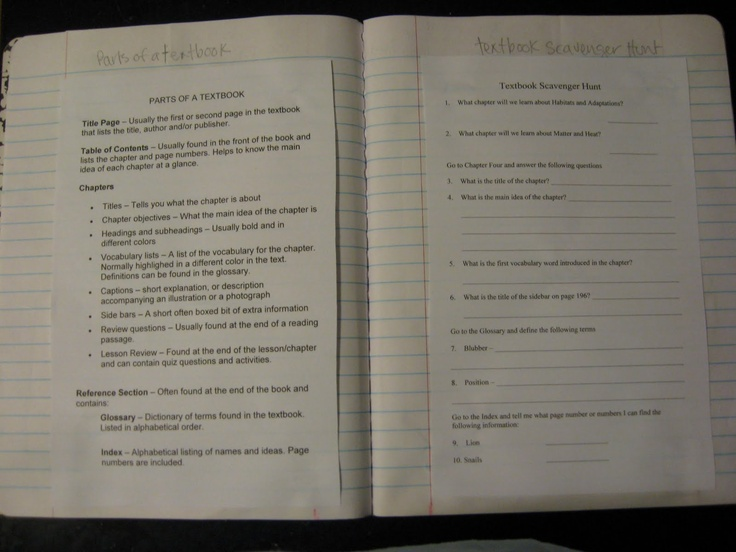 Textbook Scavenger Hunt for beginning of the year. This is for Science, but could be adapted for any subject area.
