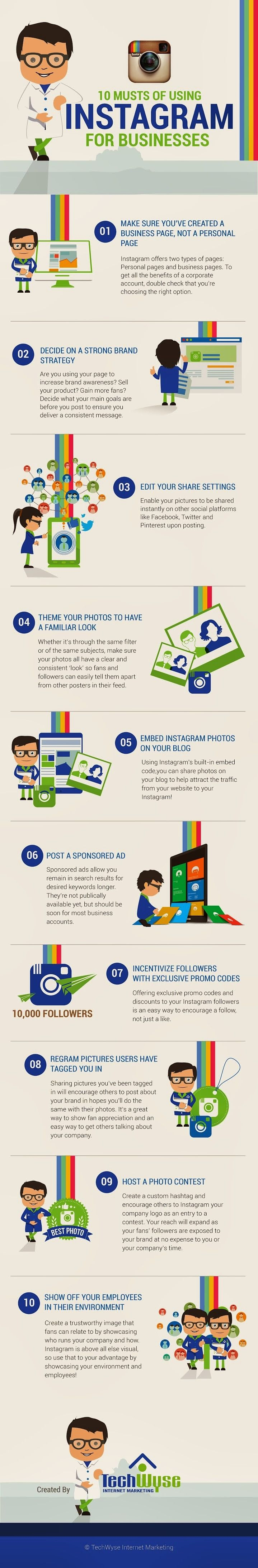 Discover what you absolutely must do if you want your business to succeed on Instagram - a social media infographic guide