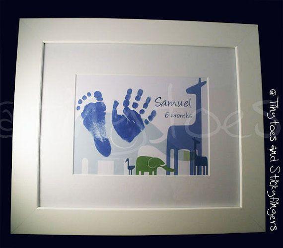 Jungle Nursery Print Keepsake  Hand prints foot by Tinytoesprints
